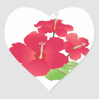 Hawaii Hibiscus Flowers Heart Sticker