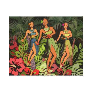Hawaii Hula Vintage Art Print on Canvas