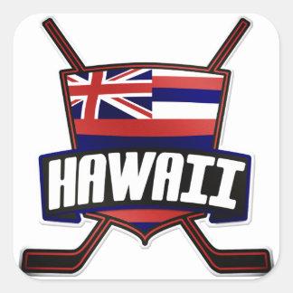 Hawaii Ice Hockey Flag Logo Square Sticker