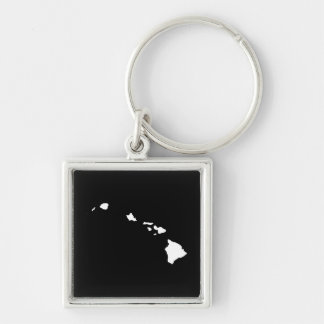 Hawaii in White and Black Silver-Colored Square Key Ring