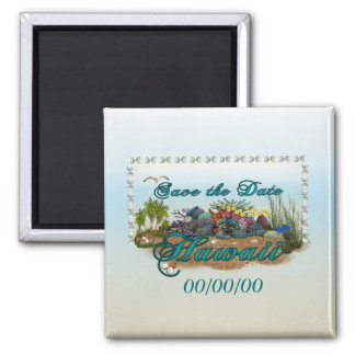Hawaii island Save the Date Square Magnet
