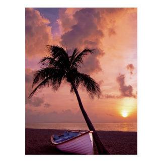 Hawaii Island Travel Beach Sunset Palm Tree Boat Postcard