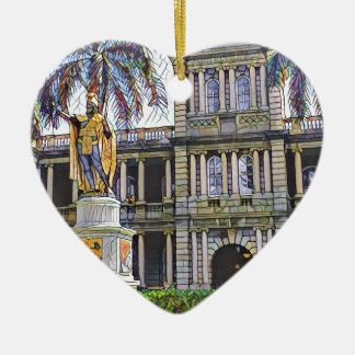 Hawaii King Kamehameha Modern Ceramic Heart Decoration