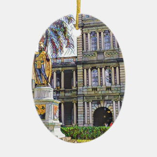 Hawaii King Kamehameha Modern Ceramic Oval Decoration