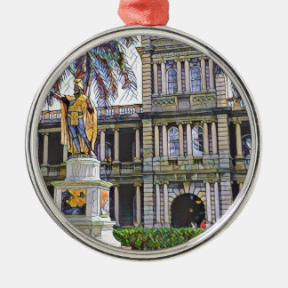Hawaii King Kamehameha Modern Silver-Colored Round Decoration