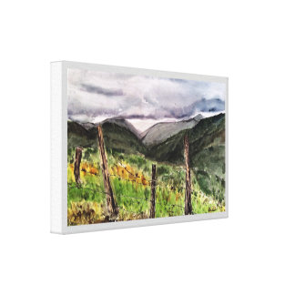 Hawaii Landscape Watercolor Print Wrapped Canvas