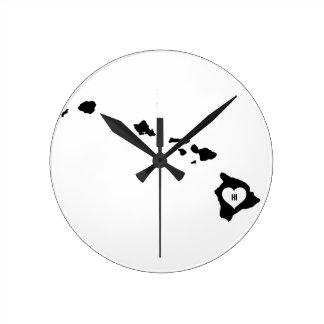 Hawaii Love Round Clock
