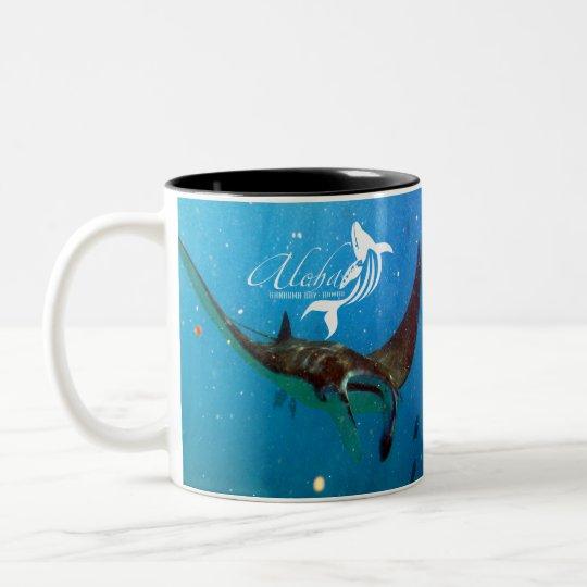 Hawaii Manta Ray and Aloha Hawaii Whale Two-Tone Coffee Mug