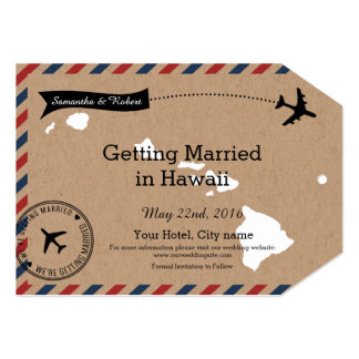 Hawaii Map Airmail Luggage Tag Save Dates Card