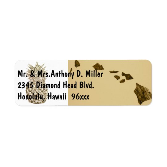 Hawaii Map and Pineapple Return Address Label