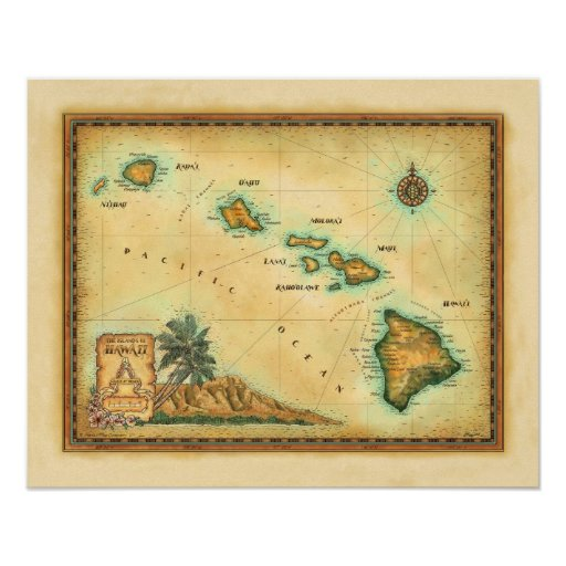 Hawaii Map, Sizes 1 Posters