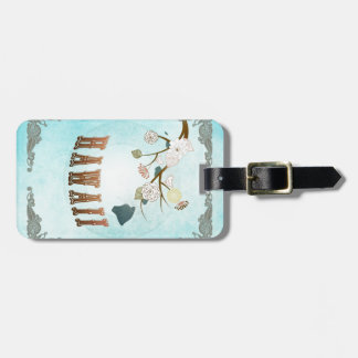 Hawaii Map With Lovely Birds Bag Tag