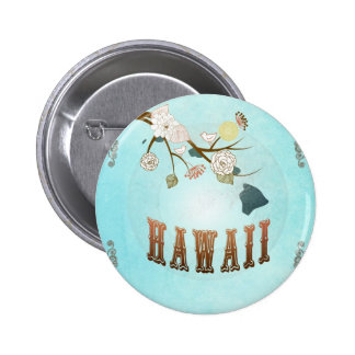 Hawaii Map With Lovely Birds Button