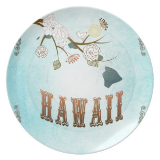 Hawaii Map With Lovely Birds Party Plate