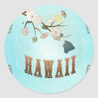 Hawaii Map With Lovely Birds Classic Round Sticker