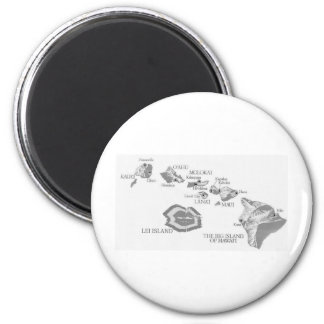 HAWAII MAP with rarely seen LEI ISLAND 6 Cm Round Magnet
