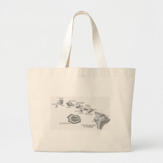 HAWAII MAP with rarely seen LEI ISLAND Large Tote Bag