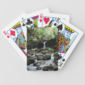 Hawaii, Maui, A waterfall flows into Blue Pool Poker Deck