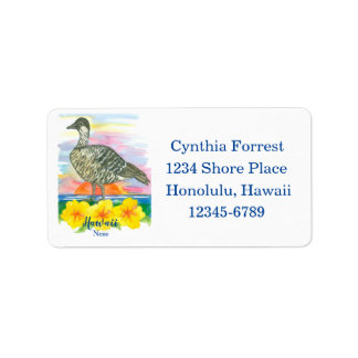 Hawaii Nene State Bird Hibiscus Return Address Label