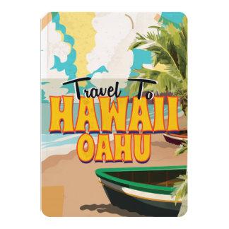 Hawaii OAHU Vintage Travel poster 13 Cm X 18 Cm Invitation Card