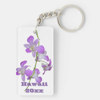 Hawaii Orchids purple and white Key Ring