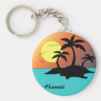 Hawaii Palm Tree Sunset Keychains