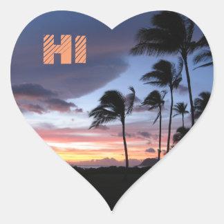 Hawaii Palm Tree Sunset Sticker