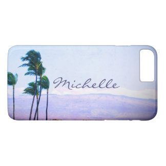 Hawaii palm trees & purple hills photo custom name iPhone 8 plus/7 plus case