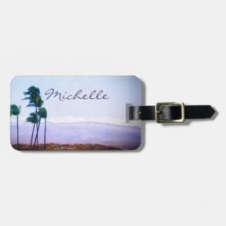 Hawaii palm trees & purple hills photo custom name luggage tag