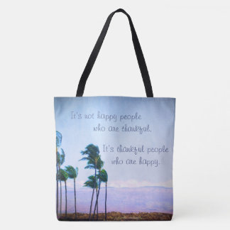 """Hawaii palm trees """"thankful people"""" quote photo tote bag"""