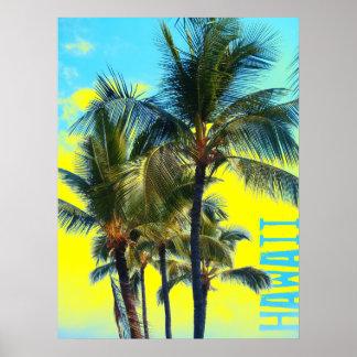 Hawaii palm yellow poster
