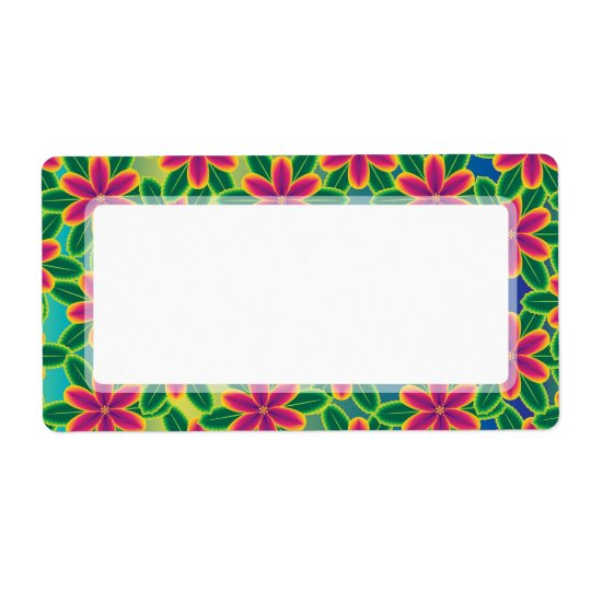 Hawaii Passion Hot Pink Tropical Flower Power Shipping Label