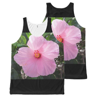 Hawaii Pink Hibiscus Flower All-Over Print Singlet