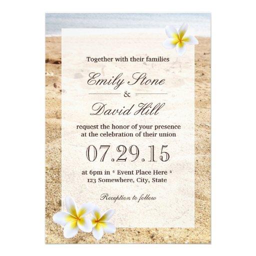 Hawaii Plumeria Flowers Beach Wedding Invitations