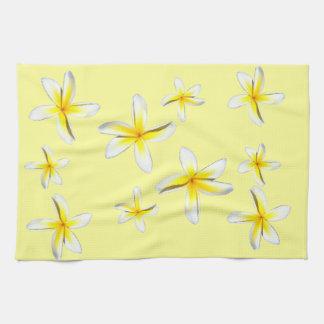 Hawaii Plumeria Yellow and White Tea Towel