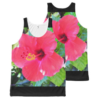 Hawaii Red Hibiscus Flower All-Over Print Singlet