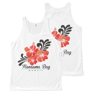 Hawaii Red Hibiscus Flowers All-Over Print Singlet