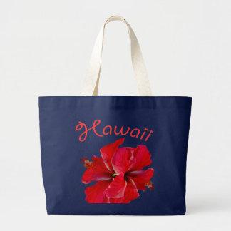 Hawaii Red Hibiscus Large Tote Bag