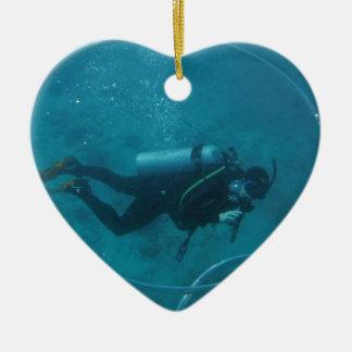 Hawaii scuba diver ceramic heart decoration