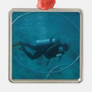 Hawaii scuba diver Silver-Colored square decoration