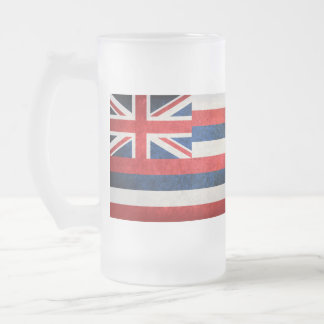 Hawaii state flag frosted glass beer mug