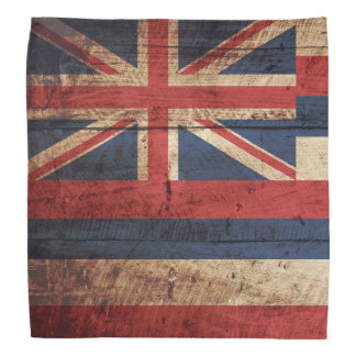 Hawaii State Flag on Old Wood Grain Do-rag