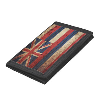 Hawaii State Flag on Old Wood Grain Trifold Wallet