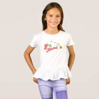 Hawaii State Map Hibiscus tshirt