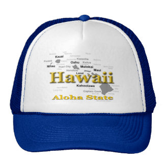 Hawaii State Pride Map Silhouette Trucker Hats