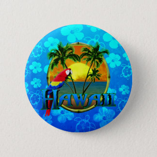 Hawaii Sunset Blue Honu 6 Cm Round Badge