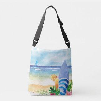 Hawaii Surf Vacation - Watercolor Art Crossbody Bag