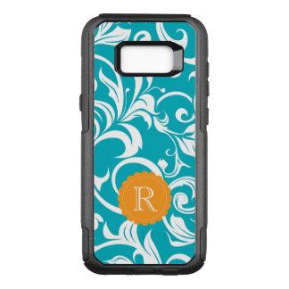 Hawaii Teal Orange Floral Wallpaper Swirl Monogram OtterBox Commuter Samsung Galaxy S8+ Case