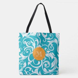Hawaii Teal Orange Floral Wallpaper Swirl Monogram Tote Bag