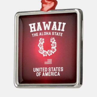 Hawaii The Aloha State Silver-Colored Square Decoration